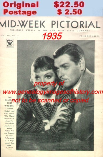 Gable clark 1935 pictorial collage entitled quot the screen quot which